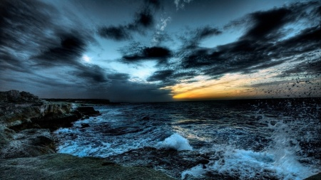 Crashing Waves On A Dark Rocky Shore Hdr HD Desktop Background